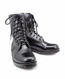 Μαύρα παπούτσια στρατού που απομονώνονται στα άσπρα υπόβαθρα Στοκ φωτογραφία με δικαίωμα ελεύθερης χρήσης