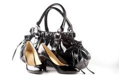 μαύρα παπούτσια τσαντών Στοκ Φωτογραφία