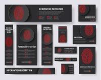 Μαύρα πρότυπα εμβλημάτων με ένα δακτυλικό αποτύπωμα και ένα κουμπί για υπέρ διανυσματική απεικόνιση