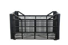 Μαύρα πλαστικά κλουβιά φρούτων και λαχανικών Στοκ εικόνα με δικαίωμα ελεύθερης χρήσης