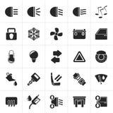 Μαύρα σημάδι και εικονίδια διεπαφών αυτοκινήτων διανυσματική απεικόνιση