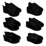 Μαύρα σκίτσα παπουτσιών γραμμών Στοκ Φωτογραφίες
