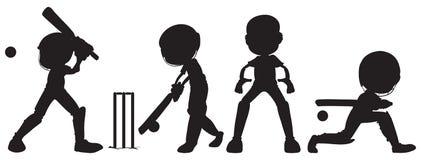 Μαύρα σκίτσα των ανθρώπων που παίζουν το γρύλο Στοκ Εικόνες