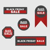Μαύρα στοιχεία σχεδίου πώλησης Παρασκευής Μαύρες ετικέτες επιγραφής πώλησης Παρασκευής, αυτοκόλλητες ετικέττες επίσης corel σύρετ απεικόνιση αποθεμάτων