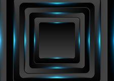 Μαύρα τετράγωνα με το μπλε ελαφρύ υπόβαθρο νέου απεικόνιση αποθεμάτων