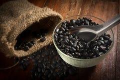 Μαύρα φασόλια στο κουτάλι κύπελλων και μετάλλων με το σάκο Στοκ φωτογραφίες με δικαίωμα ελεύθερης χρήσης