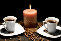 μαύρα φλυτζάνια κεριών ανα& Στοκ Εικόνα