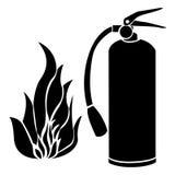 μαύρα φλόγα πυρκαγιάς σκιαγραφιών και εικονίδιο πυροσβεστήρων ελεύθερη απεικόνιση δικαιώματος