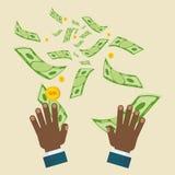 Μαύρα χρήματα μυγών χεριών απεικόνιση αποθεμάτων