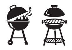 Μαύρα BBQ εικονίδια σχαρών απεικόνιση αποθεμάτων