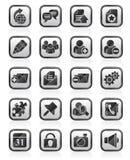 Μαύρα blogging εικονίδια ενός άσπρα Διαδικτύου Στοκ Εικόνα