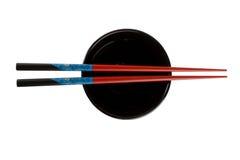 μαύρα chopsticks κύπελλων κενά Στοκ εικόνες με δικαίωμα ελεύθερης χρήσης