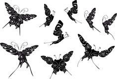 μαύρα floral περιγράμματα πεταλ διανυσματική απεικόνιση