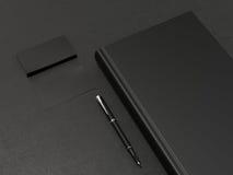 Μαύρες βιβλίο και επαγγελματικές κάρτες Στοκ Εικόνα