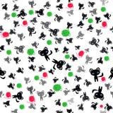 Μαύρες γάτες και σφαίρες του άνευ ραφής σχεδίου μαλλιού Στοκ Εικόνες