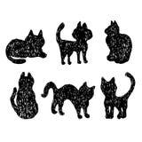 Μαύρες γάτες σκιαγραφιών συλλογής γατών Στοκ Εικόνες