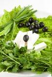μαύρες ελιές φέτας τυριών Στοκ Εικόνα