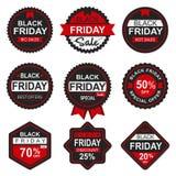 Μαύρες ετικέττα και ετικέτα πώλησης Παρασκευής απεικόνιση αποθεμάτων