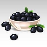 Μαύρες ελιές σε ένα πιάτο διανυσματική απεικόνιση