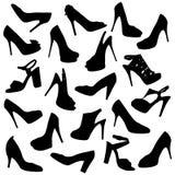 Μαύρες θηλυκές σκιαγραφίες παπουτσιών Στοκ Εικόνες