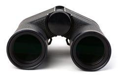 Μαύρες διόπτρες που απομονώνονται στο άσπρο υπόβαθρο Συσσώρευση εστίασης στοχεύοντας το βάθος φωτογραφικών μηχανών βαρελιών γωνία στοκ εικόνες