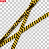 Μαύρες και κίτρινες γραμμές προσοχής που απομονώνονται απεικόνιση αποθεμάτων