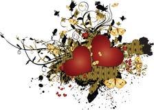 μαύρες καρδιές grunge ανασκόπησης κίτρινες Στοκ Φωτογραφία