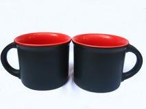 μαύρες κούπες καφέ στοκ εικόνα