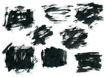 Μαύρες μορφές ορθογωνίων μελανιού που απομονώνονται στο λευκό Στοκ Εικόνες