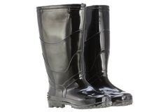Μαύρες μπότες βροχής (λαστιχένιες μπότες) Στοκ εικόνα με δικαίωμα ελεύθερης χρήσης