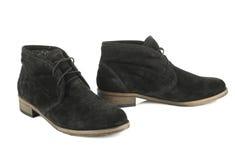 Μαύρες μπότες γυναικών με τις δαντέλλες Στοκ Εικόνες