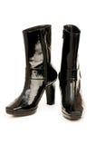 Μαύρες μπότες που απομονώνονται στο λευκό Στοκ Φωτογραφία