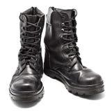 Μαύρες μπότες στρατού δέρματος Στοκ εικόνα με δικαίωμα ελεύθερης χρήσης