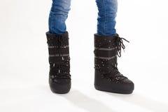 Μαύρες μπότες φεγγαριών στα rhinestones Στοκ εικόνα με δικαίωμα ελεύθερης χρήσης