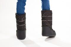 Μαύρες μπότες χειμερινών φεγγαριών Στοκ Εικόνες