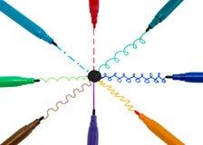 Μαύρες πέννες ακρών πιλήματος γραμμών χρωμάτων κεντρικών καμπυλών σημείων Στοκ Εικόνες