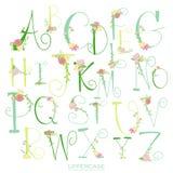 Μαύρες ρόδινες πράσινες ζωηρόχρωμες επιστολές αλφάβητου μελανιού απεικόνιση αποθεμάτων
