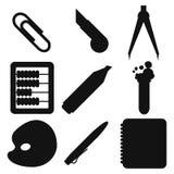 Μαύρες σκιαγραφίες σχολικών αγαθών Μέρος 2 ελεύθερη απεικόνιση δικαιώματος