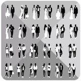 Μαύρες σκιαγραφίες των ζευγών, γυναίκα, άνδρας Στοκ εικόνα με δικαίωμα ελεύθερης χρήσης