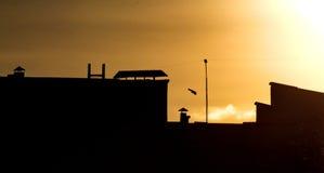 Μαύρες σκιαγραφίες των σπιτιών Στοκ εικόνες με δικαίωμα ελεύθερης χρήσης