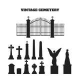 Μαύρες σκιαγραφίες των ταφοπετρών, των σταυρών και των ταφοπέτρων Στοιχεία του νεκροταφείου Στοκ Εικόνες