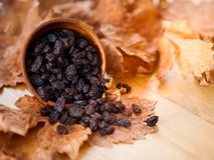 Μαύρες σταφίδες σε ένα ξύλινο κύπελλο Στο ξηρό φύλλο και την καφετιά ξύλινη ΤΣΕ Στοκ Φωτογραφίες