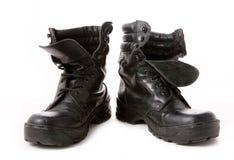Μαύρες στρατιωτικές μπότες Στοκ φωτογραφία με δικαίωμα ελεύθερης χρήσης