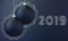 Μαύρες σφαίρες Χριστουγέννων στο σκοτεινό υπόβαθρο απεικόνιση αποθεμάτων
