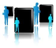 Μαύρες ταμπλέτες με τους μπλε επιχειρηματίες Στοκ Εικόνα