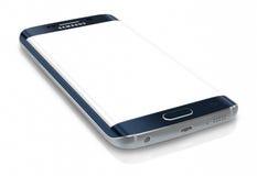 Μαύρη άκρη γαλαξιών της Samsung σαπφείρου S6 με την κενή οθόνη Στοκ Φωτογραφία