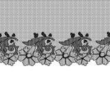 Μαύρη άνευ ραφής δαντέλλα στη σύσταση Στοκ Εικόνα