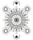 Μαύρη άσπρη κάρτα διακοσμήσεων με το mandala Γεωμετρικό στοιχείο κύκλων που γίνεται ελεύθερη απεικόνιση δικαιώματος
