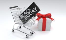Μαύρη έννοια αυτοκινήτων αγορών Παρασκευής, τρισδιάστατη απόδοση στοκ εικόνα