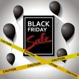 Μαύρη έννοια Παρασκευής Αφίσα προτύπων με τα μαύρα μπαλόνια και τα δώρα Στοκ Εικόνες